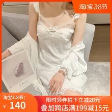 夏季睡az女唯美韩款61裙睡袍带胸垫春秋蕾丝性感冰丝薄式套装