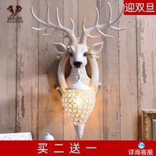 招财鹿az壁灯北欧式ct视背景墙床头个性创意鹿头墙壁灯装饰品