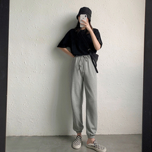 A7sazven灰色ct女夏季薄式宽松束脚高腰哈伦裤休闲收脚卫裤子