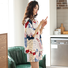 202b6年新式睡衣6c薄式纯棉大码夏天短袖短裤家居服女两件套装