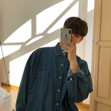 MRCbaC日系复古fu秋装牛仔衬衫男士长袖韩款潮流帅气宽松外套