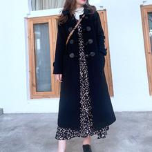 KAKbaHATO&ym;GIRAYI日系复古毛呢藏蓝色连帽通勤中长式牛角扣大衣