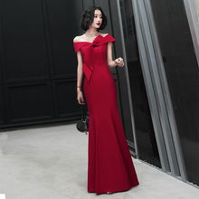202ba新式一字肩kl会名媛鱼尾结婚红色晚礼服长裙女