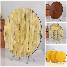 简易折ba桌家用实木kl圆形饭桌正方形可吃饭伸缩桌子