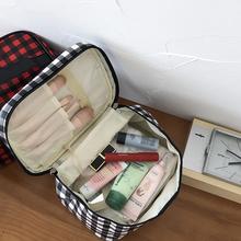 馨帮帮ba格纹旅行便oi能大容量化妆工具收纳洗漱包化妆包袋女