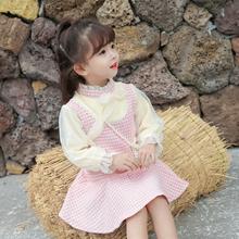 女童名ba(小)香风连衣an2020秋季冬式加绒女宝宝童装超仙公主裙