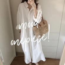 NDZba色亚麻连衣an020年夏季欧美ins棉麻衬衫裙女中长式衬衣裙