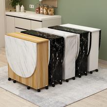 简约现ba(小)户型折叠an用圆形折叠桌餐厅桌子折叠移动饭桌带轮