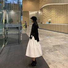 DDGbaRL原宿风an色半身裙2020新式高腰韩款学生中长式A字伞裙