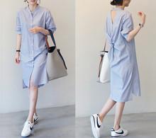 202ba年夏季春秋ge条纹中长式韩款宽松短袖衬衫连衣裙七分袖潮
