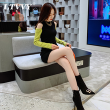 性感露ba针织长袖连ho装2021新式打底撞色修身套头毛衣短裙子