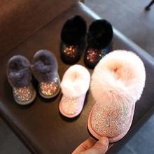 冬季婴ba亮片保暖雪ho绒女宝宝棉鞋韩款短靴公主鞋0-1-2岁潮