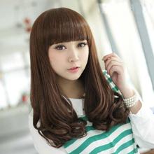 假发女ba花头齐刘海ho短发中长发型女士蓬松假发套整顶假头发