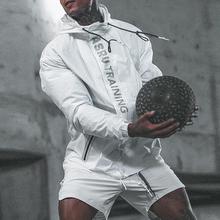 新式肌ba兄弟运动服ho身连帽休闲男防晒训练户外健身冲锋外套