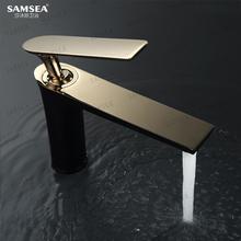 SAMbaEA莎沐斯ra面盆洗脸盆台上盆黑色全铜水龙头加长家用金色