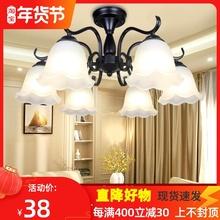 吊灯简ba温馨卧室灯at欧大气客厅灯铁艺餐厅灯具新式美式吸顶
