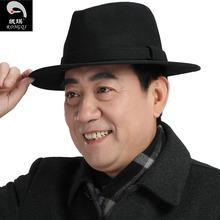 中老年ba帽男大檐绅ka古上海滩帽子英伦羊毛呢加厚爵士帽黑色