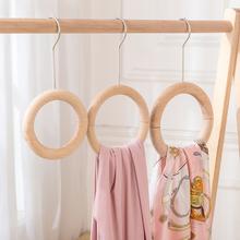 服装店ba木圈圈展示ou巾丝巾圆形衣架创意木圈磁铁包包挂展架