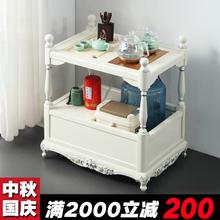 轻奢家ba阳台实木茶ng桌茶具套装带轮移动欧式茶台烧水壶一体