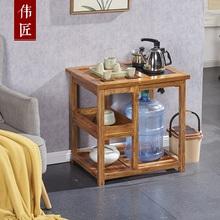 移动茶ba家用(小)茶台ng桌老榆木茶具茶水架二的茶台简约茶水柜