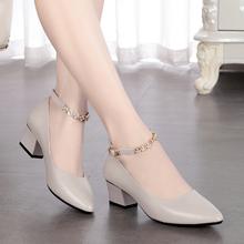 雪地意ba康真皮一字ke女皮鞋中跟软底浅口女鞋粗跟尖头妈妈鞋