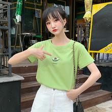网红牛油果绿短袖T恤女2