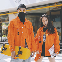 Holbacrap橙at牛仔外套男国潮夹克宽松BF街舞hiphop情侣装秋冬