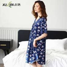 夏季中老年的睡衣女士莫代尔妈妈睡裙ba14天中年il绸连衣裙