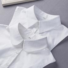 韩国百ba衬衫女式衬il领秋冬季白色纯棉假领毛衣装饰领