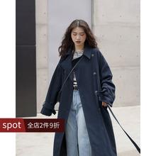 欧阳喜ba长式风衣女li新式韩款宽松过膝开衫翻领气质外套