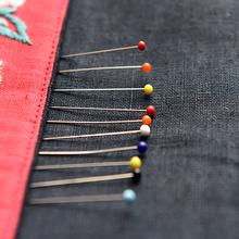 彩色珠ba定位针防锈ou服装立裁针珍珠针大号定型针工具