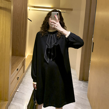 孕妇连ba裙2021uo国针织假两件气质A字毛衣裙春装时尚式辣妈