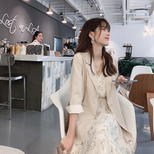谜秀西ba外套女20da装新式韩款长袖气质休闲宽松网红(小)西服上衣