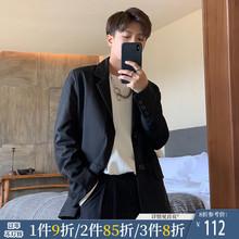 ONEbaAX秋冬新da黑色帅气(小)西装潮男女单排扣宽松绅士西服外套