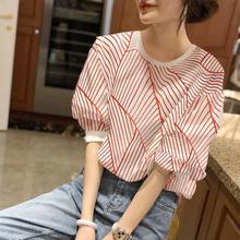 红色条纹衬衫女士夏季薄款