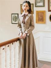 现货春ba法式复古少iz连衣裙女文艺气质减龄长袖收腰显瘦裙子