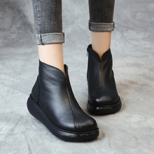 复古原ba冬新式女鞋ai底皮靴妈妈鞋民族风软底松糕鞋真皮短靴