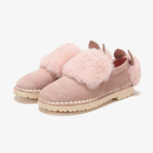 Dapbane/达芙la鞋柜冬式可爱毛绒装饰低筒缝线踝靴深口鞋女