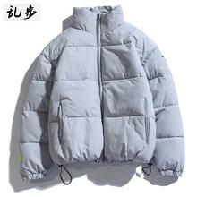 棉衣男ba外套冬短式ji潮流纯色羽绒棉服日系简约立领棉袄上衣