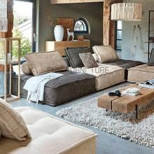 北欧皮ba蒙特布艺棉om面包贵妃榻(小)户型客厅皮艺单的组合沙发