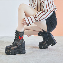 网红中ba靴2021du靴子真皮马丁坡跟松糕内增高女靴超高跟12CM