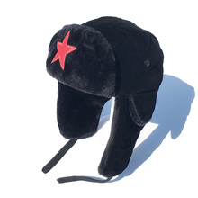 红星亲ba男士潮冬季ba暖加绒加厚护耳青年东北棉帽子女