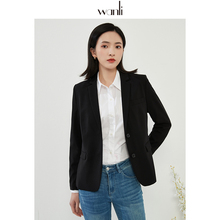 万丽(ba饰)女装 ca套女2021春季新式黑色通勤职业正装西服