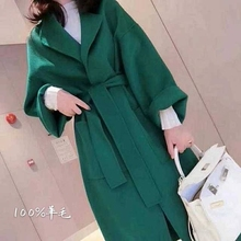 反季2ba20新式韩ca羊绒女中长式纯手工羊毛赫本风毛呢外套