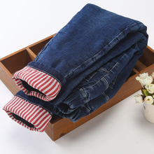 女童棉ba外穿三层加ca保暖冬宝宝女裤洋气中大童修身牛仔裤