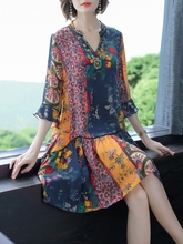反季清ba真丝连衣裙ef19新式大牌重磅桑蚕丝波西米亚中长式裙子
