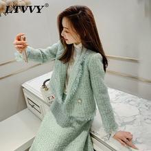 韩款外ba女装长袖秋ef韩款气质名媛短式西装时尚粗花呢上衣潮