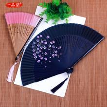 中国风ba丝女扇子日kh古风折扇汉服舞蹈扇折叠古典丝绸(小)绢扇