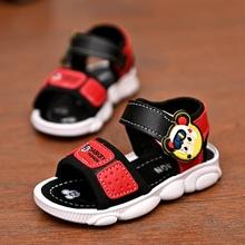 (小)孩男ba凉鞋202kh夏季防滑软底宝宝鞋(小)学生宝宝沙滩鞋中(小)童