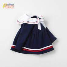 女童春ba0-1-2wa女宝宝裙子婴儿长袖连衣裙洋气春秋公主海军风4
